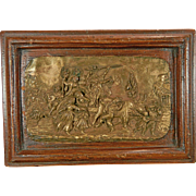 Vintage Framed Bronze Plaque Allegory of Autumn France 20th Century