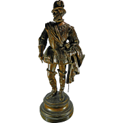 Antique Bronze Spelter Statue of a Musketeer France 19th Century