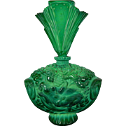 Vintage Art Deco Malachite Glass Perfume Bottle by Schlevogt Czech Republic 20th Century