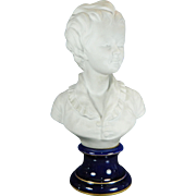 Vintage White Parian or Biscuit Limoges Porcelain Bust of a Boy by Houdon France 20th Century