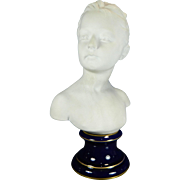 Vintage White Parian or Biscuit Limoges Porcelain Bust of a Girl by Houdon France 20th Century