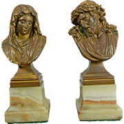 Antique Pair of Gold Gilded Bronze Busts of the Virgin Mary and Jesus Germany 20th Century