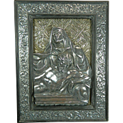 Antique Chiselled Sterling Silver Frame Stand with a Plaque of the Virgin Mary and the Corpse of Spain Italy 19th Century