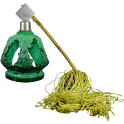 Vintage Art Deco Malachite Glass Perfume Bottle by Schlevogt Czech Republic 20th Century