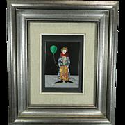 Vintage Framed Pietradura Plaque Clown with Balloon Italy 20th Century