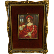 Vintage Framed Miniature Hand Painted Portrait of a Queen France 20th Century