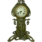 Antique Art Nouveau Bronze Spelter Mantle Clock Germany 19th Century