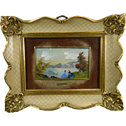 Vintage Framed Miniature Hand Painted Landscape Italy 20th Century