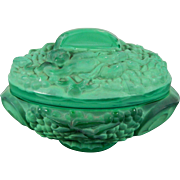 Vintage Art Deco Malachite Glass Trinket Box by Schlevogt Czech Republic 20th Century