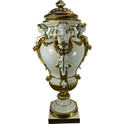 Antique Hand Painted Dresden Porcelain Urn Gold Gilded Accents Germany 19th Century