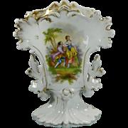 Antique Hand Painted Old Paris Style Porcelain Flower Vase France 19th Century