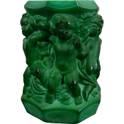 Vintage Malachite Glass Candleholder Czech Republic 20th Century