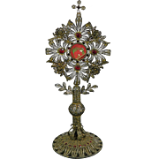 Antique Silver Filigree S. Joseph Reliquary with Semiprecious Stones Italy 19th Century