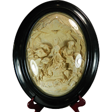 Antique Framed Napoleon III Hand Carved Meerschaum Bas Relief Plaque the Adoration of the Shepherds France