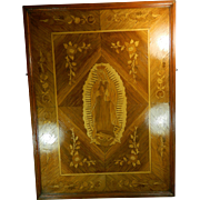 A Large Old Framed Wood Marquetry Work with the Image of Our Lady Virgin of Guadalupe Mexico