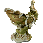 Antique Art Nouveau Style Hand Painted Royal Dux Porcelain Center Piece Czech Republic