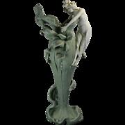 Antique Art Nouveau Style Jasperware Style Porcelain Flower Vase Austria