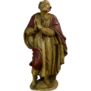 Antique Polychrome Alabaster Statue of a Saint Italy