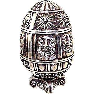 Post-1940 999 Silver Egg Allegories of Sun and Moon Greece