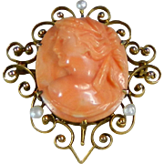 An Antique Cameo Pin Brooch Orange Hand Carved Coral Mounted in 14 Karat Gold & Pearls Europe