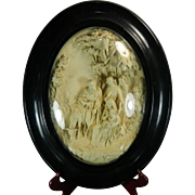 1850-1899 Framed Napoleon III Hand Carved Meerschaum Bas Relief Plaque the Flight into Egypt France