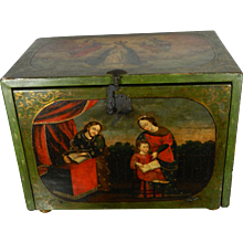 An Antique Colonial Hand Painted Chest Bargueño in Wood with Religious Themes Mexico