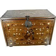 An Antique Colonial Chest Bargueño in Wood with Religious Themes Marquetry Mexico