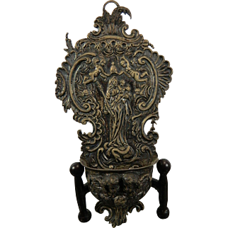An Antique Holy Water Font in Repoussé Silver with The Virgin Mary and Baby Jesus Mexico