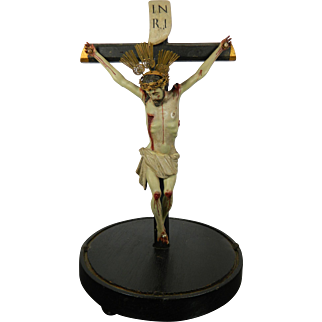 An Antique Hand Carved Wood Crucifix with Corpus on Wood Crown in Gold and Nails with Pearls Mexico