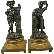 An Antique Pair of Empire Style Bronze Figurines of Two Peasants a Boy and a Girl France