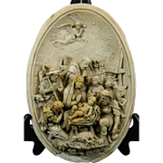 Antique Hand Carved Meerschaum Bas Relief Plaque Nativity the Adoration of Jesus France