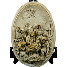 Antique Hand Carved Meerschaum Bas Relief Plaque Nativity the Adoration of Jesus France