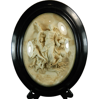 Antique Hand Carved Meerschaum Bas Relief Plaque the Ascent of the Virgin Mary France