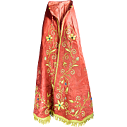 An Old Santo Vestment Cape in Satin Fabric with Gold Gilded Embroidery Mexico