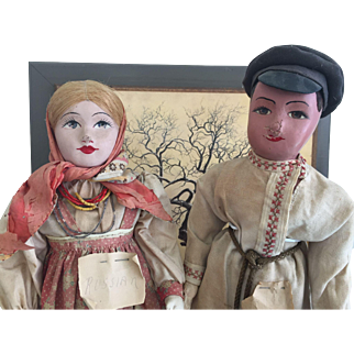 """18"""" Russian Cossack Folk Dance Couple.  Highly collectible."""