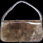 Authentic PRADA Brown Grey Leather Flower Shoulder Bag Purse