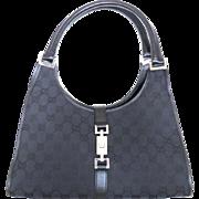 Authentic GUCCI Black Original GG Canvas Leather Jackie Shoulder Bag Purse