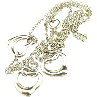 Authentic TIFFANY & CO Sterling Silver Three 3 Open Heart Pendant Necklace
