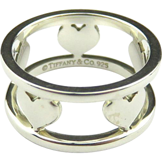 Authentic TIFFANY & CO Sterling Silver Five Hearts Bar Ring Size 5.75