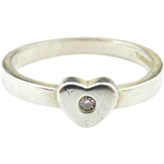 Authentic TIFFANY & CO Picasso Sterling Silver Diamond Heart Ring Size 4.5