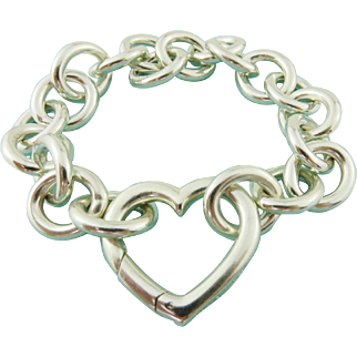 Authentic TIFFANY & CO Sterling Silver Heart Clasp Chain Link Bracelet