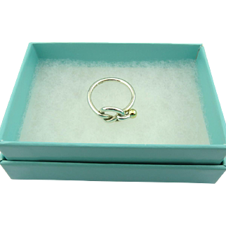 Authentic TIFFANY & CO Sterling Silver 18K Gold Love Knot Ring Size 6.25