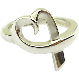 Authentic TIFFANY & CO Sterling Silver Loving Heart Ring Size 4.25
