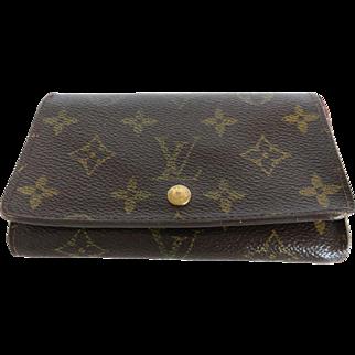 Authentic LOUIS VUITTON Monogram Canvas Leather Porte Monnaie Tresor Wallet