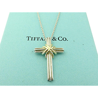 Authentic TIFFANY & CO Sterling Silver 18K Gold Cross Pendant Necklace
