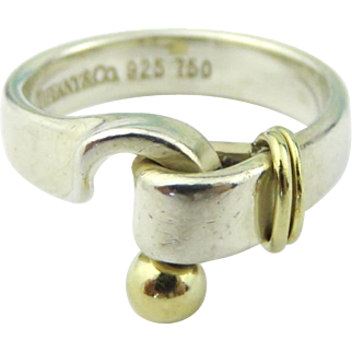 Authentic TIFFANY & CO Sterling Silver 18K Gold Love Knot Ring Size 5.5