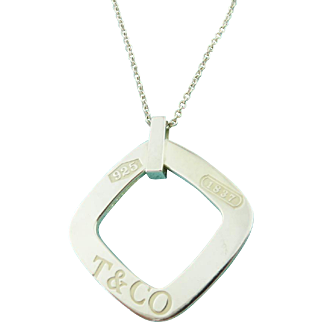 Authentic TIFFANY & CO Sterling Silver Large 1837 Square Pendant Necklace