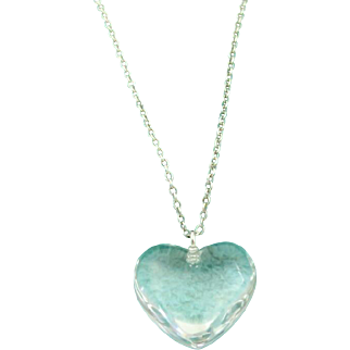 Authentic TIFFANY & CO Sterling Silver Crystal Heart Pendant Necklace