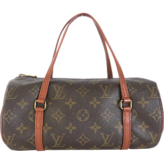 Authentic LOUIS VUITTON Monogram Canvas Leather Papillon 26 Handbag Bag