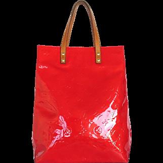 Authentic LOUIS VUITTON Monogram Vernis Reade Rouge Tote Bag Handbag
